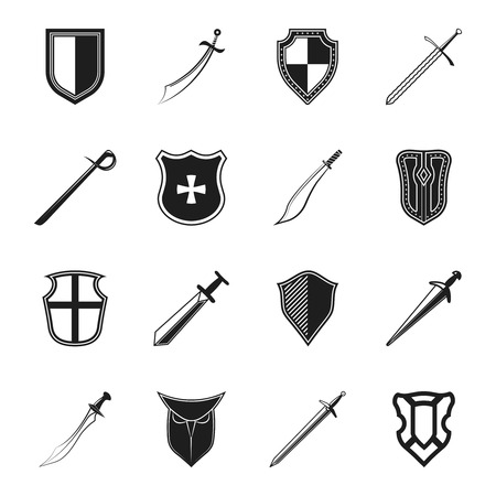 Swords medieval knight weapon and and steel warrior shields isolated vector illustration Vector