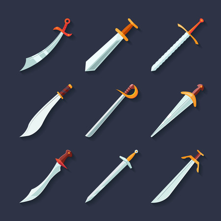 Swords knives daggers sharp blades flat icon set isolated vector illustration Ilustração