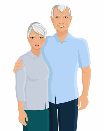 personas mayores: Antiguo Retrato mayor par de personas de la familia aislada en el fondo blanco ilustración vectorial