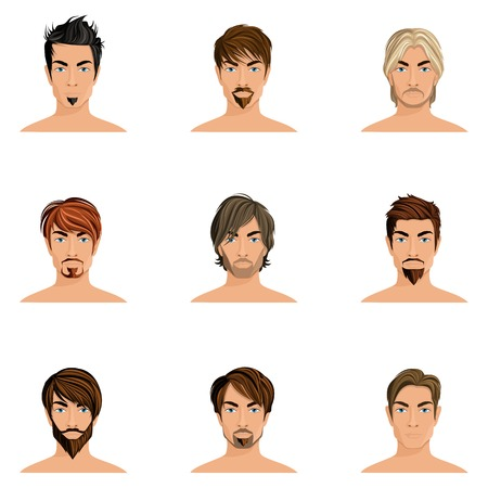 hair colors: Handsome man male avatars set with haircut styles isolated vector illustration