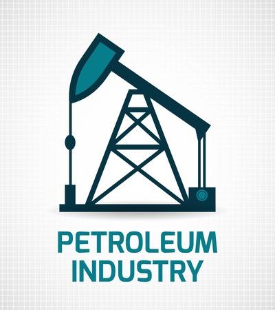 torre de perforacion petrolera: Industria del petróleo de extracción de petróleo crudo y la eliminación de biela-manivela de instalación de símbolos pictograma impresión del cartel abstracto ilustración vectorial