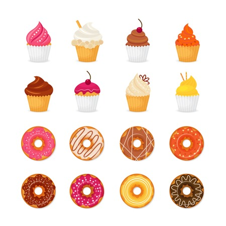 cupcakes isolated: Food sweets bakery and pastry donut and cupcake icons set isolated vector illustration Illustration