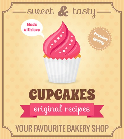 chocolate syrup: Sweet and tasty food dessert original recipe cupcake retro poster vector illustration