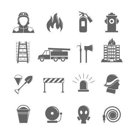 mask protection: Firefighting black silhouette icons set of fire protection equipment isolated vector illustration.