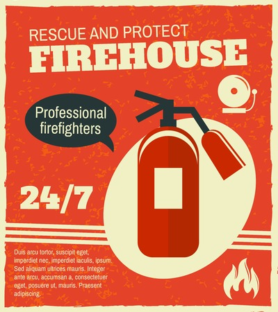 Firefighting rescue and protection professional firefighters poster with fire extinguisher vector illustration Illustration