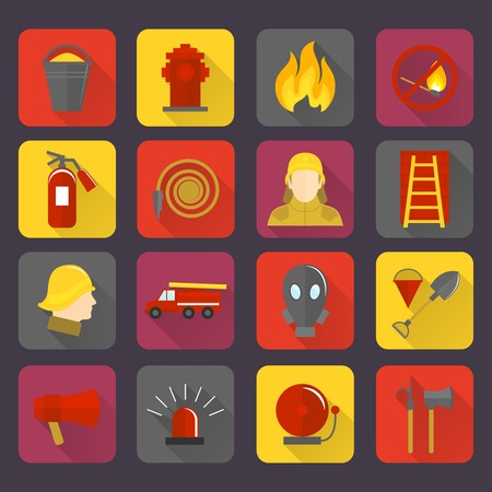 house fire: Firefighting icons set of flame water hose mask and helmet isolated vector illustration Illustration