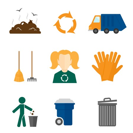 Garbage recycling icons flat set of landfill truck gloves isolated vector illustration Vector