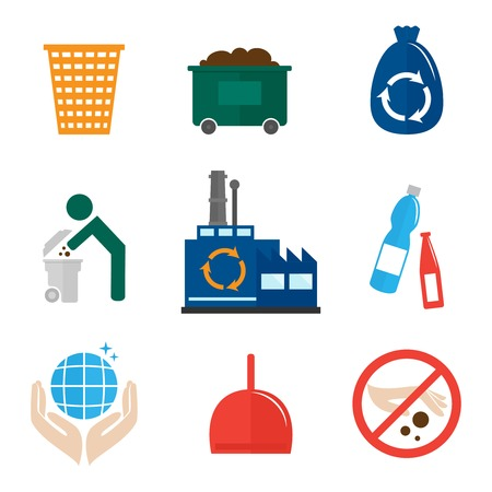 camion de basura: Reciclaje de basura iconos Conjunto plana de aislados bolsa higi�nica de residuos bin contenedor ilustraci�n vectorial.