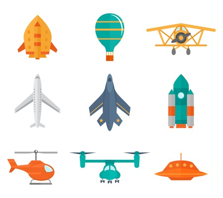 Aircraft icons flat set of space rocket propeller airplane ufo isolated vector illustration Vector
