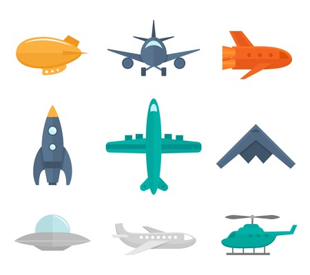 Aircraft icons flat set of zeppelin aircraft war fighter isolated vector illustration Vector