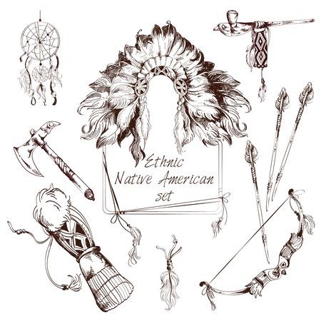 tomahawk: Ethnic native american indian tribes sketch decorative elements set isolated vector illustration Illustration