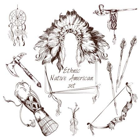 dreamcatcher: Tribus indias americanas nativas �tnicas esbozan elementos decorativos establecidos, ilustraci�n vectorial