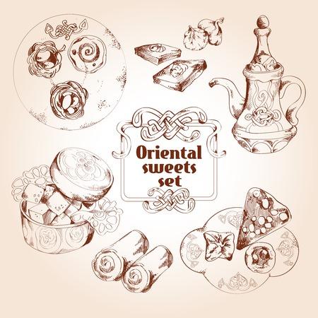 turkish dessert: Oriental arabic traditional asian sweet dessert sketch set isolated vector illustration Illustration