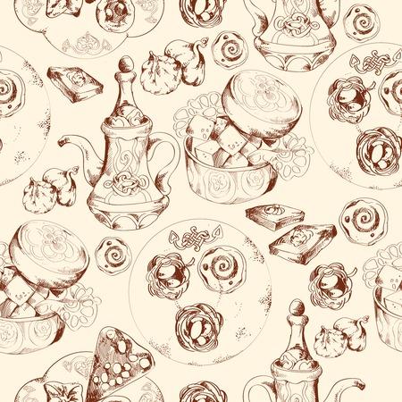 turkish dessert: Oriental arabic traditional asian sweet dessert doodle seamless pattern vector illustration.