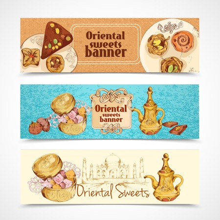 asian business people: Oriental asian traditional sweet desserts banners set isolated vector illustration