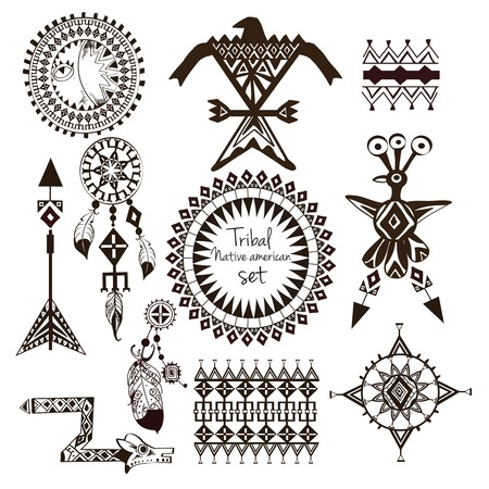 indio americano: Tribus indias americanas nativas tribales elementos decorativos en blanco y negro ornamentales conjunto aislado ilustración vectorial
