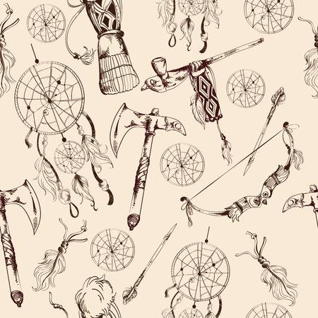 native american tomahawk: Ethnic native american indian tribes hand drawn seamless pattern vector illustration
