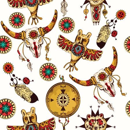 indio americano: Tribal sin fisuras de fondo conjunto con plumas atrapasueños indio y tribal tótems animales ilustración vectorial
