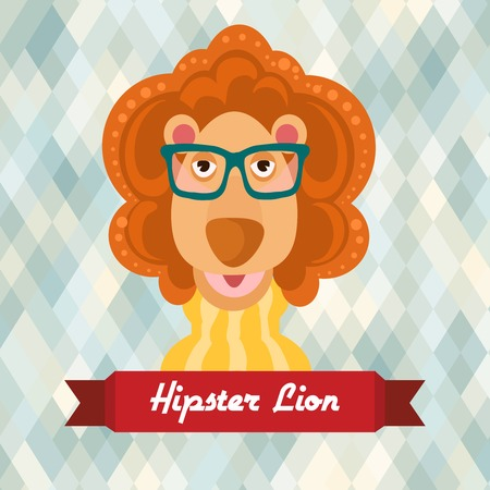 lozenge: Hipster lion with glasses on rhombus background vector illustration Illustration