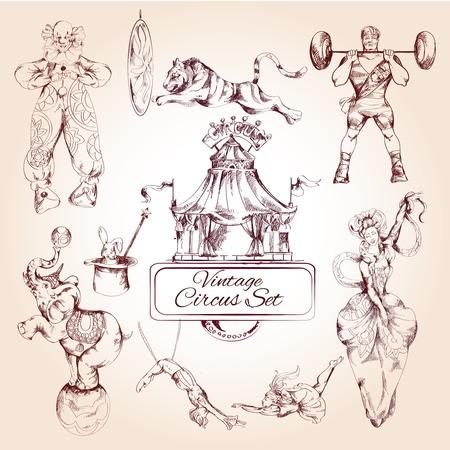 装飾的な魔法道化師およびサーカスの動物ライオン象ビンテージ シンボル アイコン組成コレクション落書きスケッチ ベクトル図  イラスト・ベクター素材