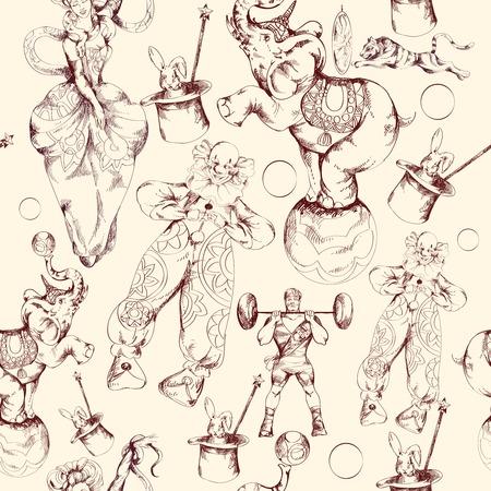 Payaso de circo de la varita de hadas milagros mágicos decorativos papel de abrigo de la vendimia inconsútil del modelo del doodle retro ilustración dibujo vectorial Vectores