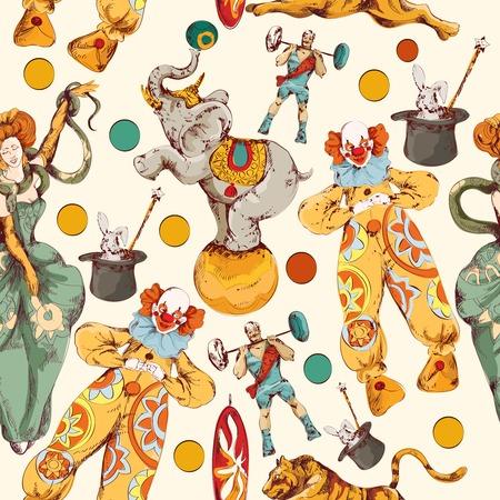 fondo de circo: Circo decorativo de la vendimia con el payaso mágico truco varita de ilustración de bosquejo patrón de papel envoltura sin costuras de color dibujo vectorial