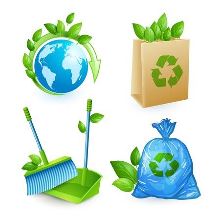 plastic: Ecologie en verwerking van iconen set van geïsoleerde behoud vuilnis recycling vector illustratie Stock Illustratie