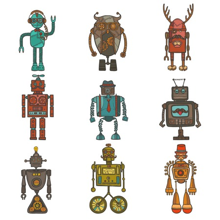humanoid: Hipster robot retro humanoid avatar icons set isolated vector illustration