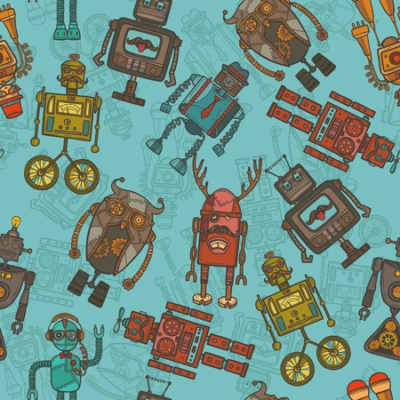 Hipster robot retro humanoid avatar colored seamless pattern vector illustration Vector