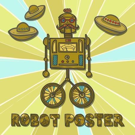 인간형: 정보통 로봇 복고 패션 인간형 디자인 포스터 벡터 일러스트 레이 션