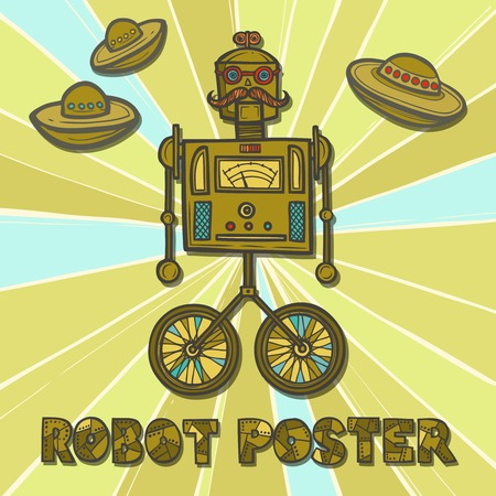 humanoid: Hipster robot retro fashion humanoid design poster vector illustration