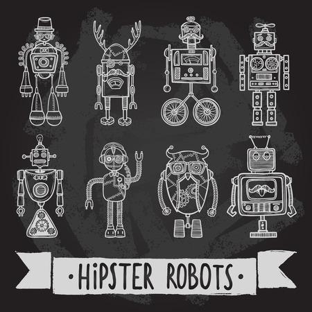 인간형: 정보통 로봇 복고 인간형 아바타 검은 실루엣 아이콘 격리 된 벡터 일러스트 레이 션을 설정합니다.