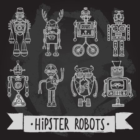 humanoid: Hipster robot retro humanoid avatar black silhouette icons set isolated vector illustration.