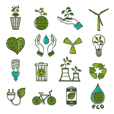 Ecology and waste colored icons set of global environment energy and recycling isolated vector illustration