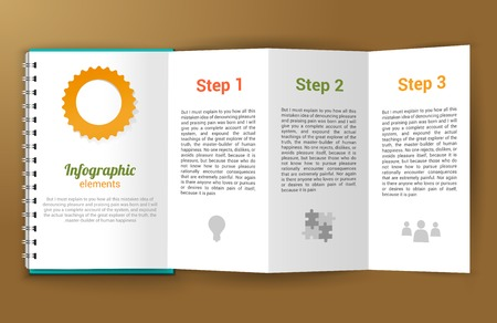 Unfolded paper notepad with infographic steps elements vector illustration Vector
