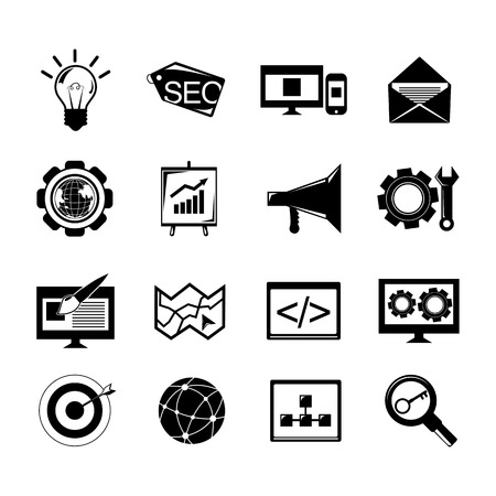 blog design: SEO mobile computer website optimization software black icons set isolated vector illustration.