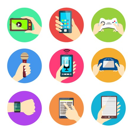 holding smart phone: Human hands set holding mobile phones and electronic devices isolated vector illustration.