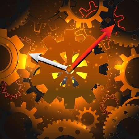 Gouden tandwielen klok engineering tijd concept technische achtergrond vector illustratie. Vector Illustratie