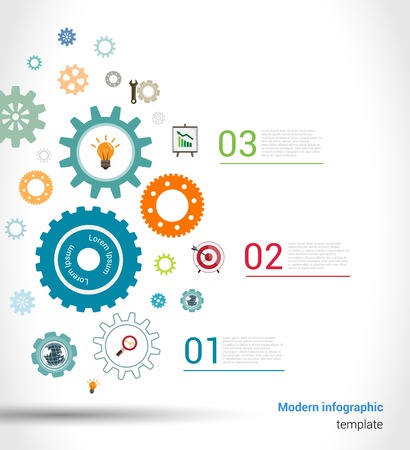 clock gears: Abstract paper chart infographics elements template with gears and business icons vector illustration