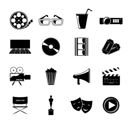 Cinema movie entertainment film black icons elements set isolated vector illustration Vector