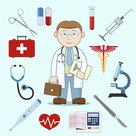 first aid box: Doctor character with first aid kit healthcare medicine icons vector illustration