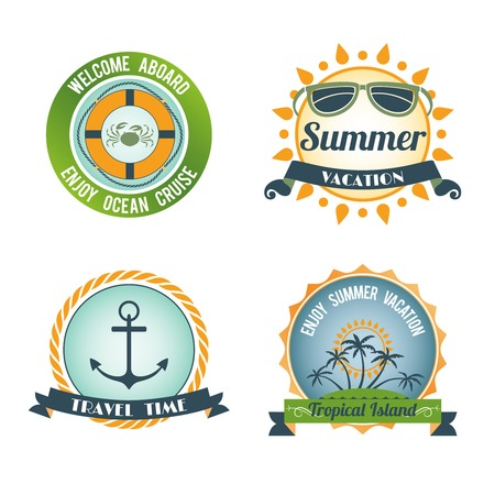 Welcome aboard summer vacation travel color labels set isolated vector illustration