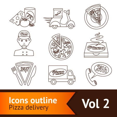 Fast food pizza delivery ingredients outline icons set isolated vector illustration Vector