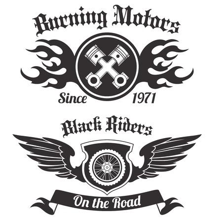 jinete: Motocicleta grunge jinetes negros que queman motores etiquetas fijadas aisladas ilustración vectorial Vectores