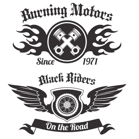 engine flame: Motorcycle grunge black riders burning motors labels set isolated vector illustration Illustration