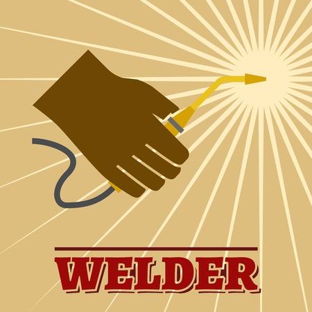 weld: Welder industry retro poster with welding machine and spark vector illustration.