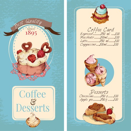 Food sweets bakery and pastry sketch colored desserts menu template vector illustration Vector