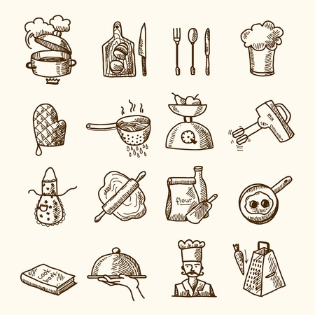 Kookproces heerlijk eten schets pictogrammen instellen geïsoleerde vector illustratie