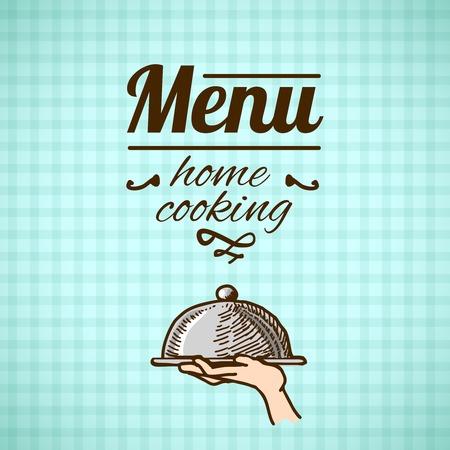 cloche: Home cooking restaurant menu design with sketch serving cloche vector illustration