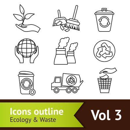 dustpan: Ecology and waste outline icons set of dustpan brush globe isolated vector illustration
